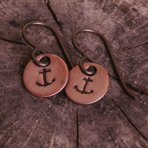 Nautical Anchor Earrings, Copper with Niobium Hypoallergenic Ear Wires for Sensitive Ears