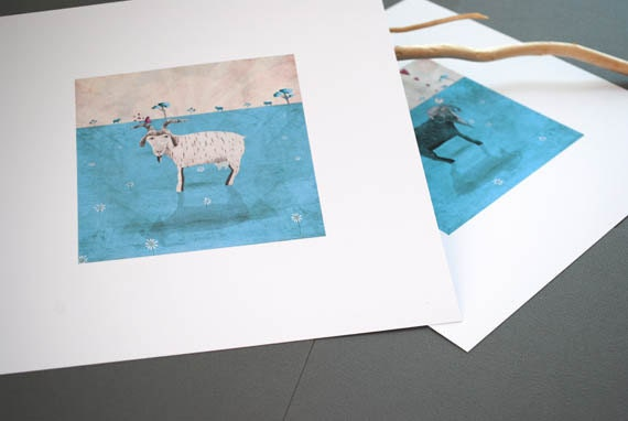 Billy goats in love -  Set of 2 small prints(ready to frame)
