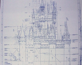 Walt Disney World Magic Kingdom Castle West Elevation Blueprint