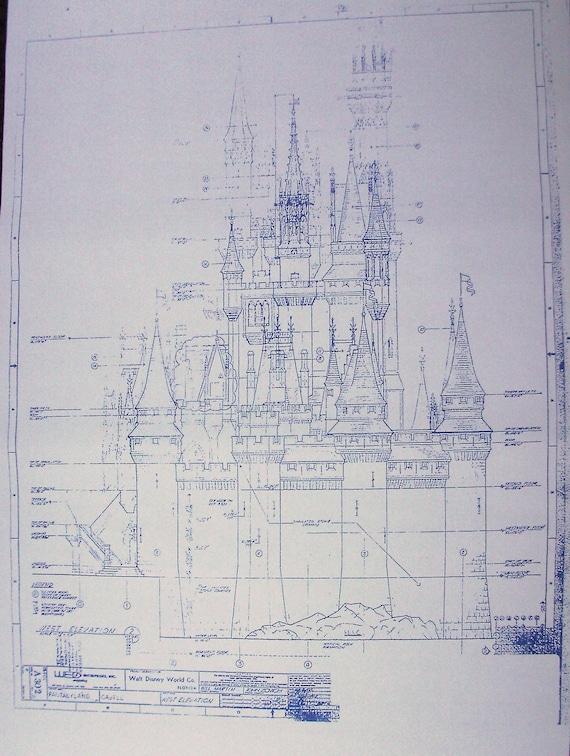 Walt disney world magic kingdom castle west by blueprintplace for Florida blueprint