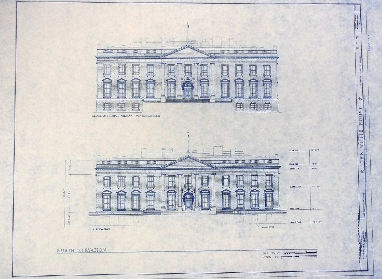 The White House In DC Blueprint by BlueprintPlace on Etsy