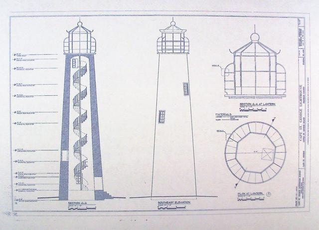 Cape st george lighthouse blueprint by blueprintplace on etsy for Lighthouse blueprints plans