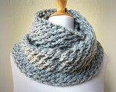 PEARL GREY infinity scarf / cowl -- wool blend, chunky, fashion accessories, gray