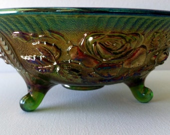 What A Prize --- Imperial Carnival Glass Lustre Rose Pattern In Green Helios