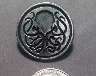 Aged Pewter Inverse Cthulhu pin