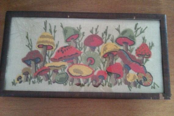 Framed Mushroom Crewel Art