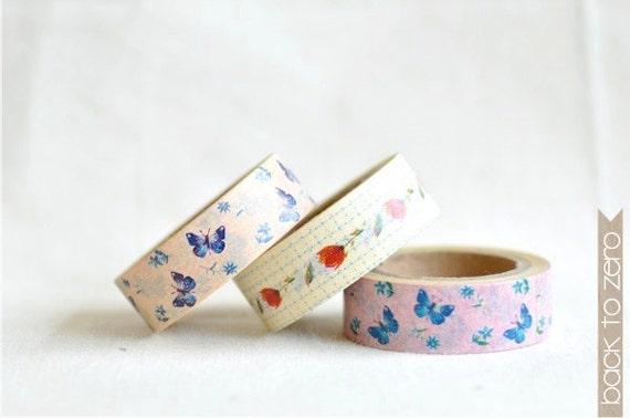 Washi Tape Set of 3 - Flowers & Butterflies