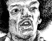 Poster Print of Ink Drawing: Portrait of Jimi Hendrix, 12x18