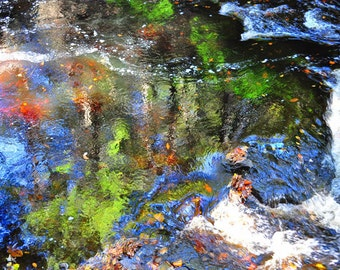 Reflection Photo, HDR photograph, red, green, yellow, orange, blue fine photography print, Impressionistic