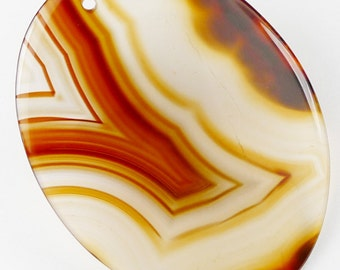 LARGE Translucent Agate Pendant Bead - 49x37x2mm