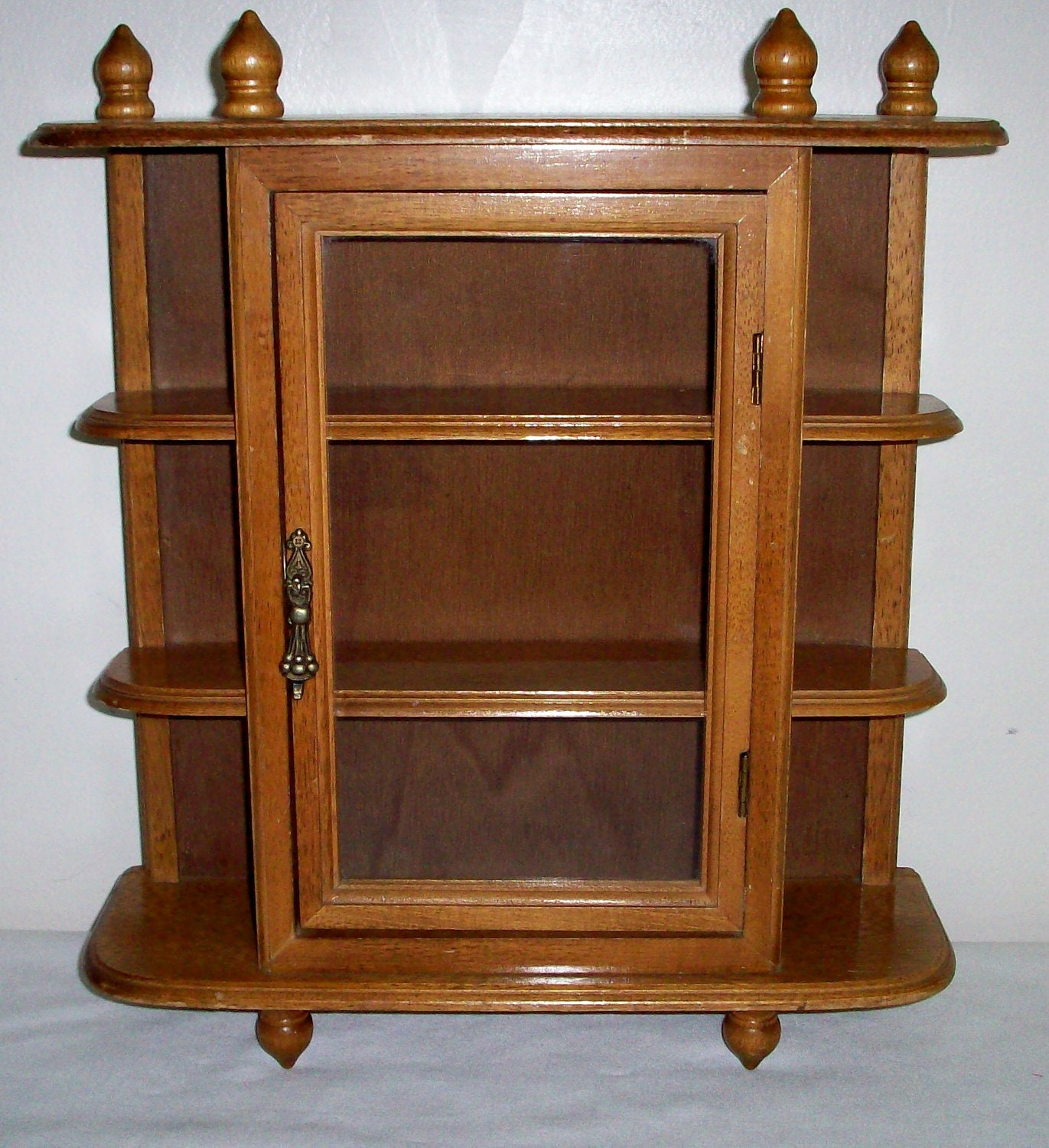 Wall curio cabinet wooden with glass door by annetteattic