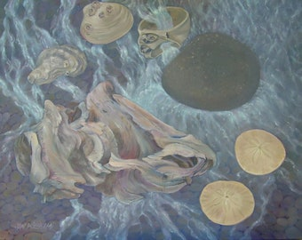 """Large original painting, Shell Series...""""Sinkers and floaters, barnacles and stars""""..driftwood, dream, beach, ocean, meditation, sea"""