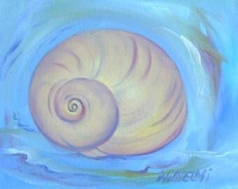 """small original painting, Shell series, """"Moonsnail, New Beginnings"""", 8"""" x 10"""", aqua, ocean, spiral, beach, shell, blue"""