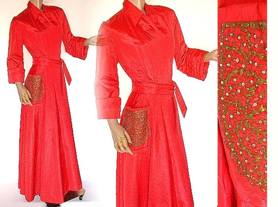 Vintage 1940s Robe Dressing Gown Red Hollywood Bombshell Sexy Marilyn Monroe Pinup Viva Las Vegas Burlesque Quilted