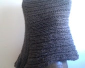 Chunky hand knitted rib poncho in natural brown merino