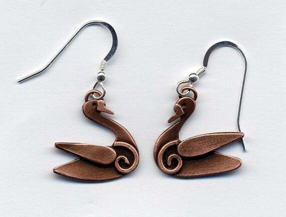 Swan Copper Finish Drop Earrings
