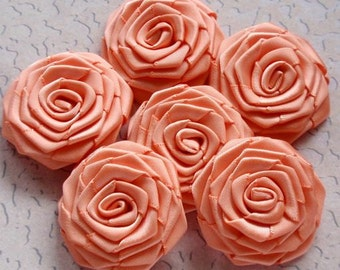 6 Handmade Ribbon Roses (1-1/2 inches) In Peach  MY-028-122 Ready to Ship