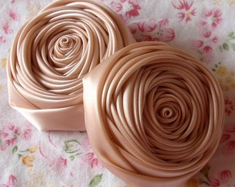 2 Handmade Ribbon  Rolled Roses (2.5 inches) in Petal Peach MY-015 -121 Ready To Ship