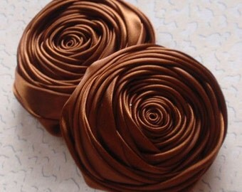 2 Handmade Ribbon Rolled Roses (2.5 inches) in Brown  MY-015 - 50 Ready To Ship