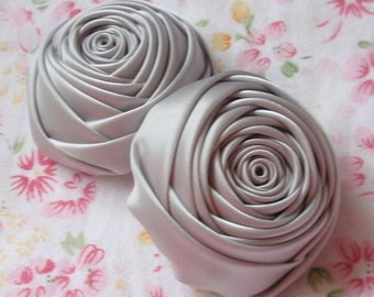 2 Handmade Ribbon Rolled Roses (2 inches) in Shelll Gray  MY-012 -02 Ready To Ship