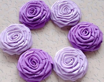 6 Handmade Roses (1-1/2 inches) In Lt Orchid,  Deiphinium MY-027-15 Ready to Ship
