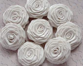 8 Handmade Ribbon Roses (1-1/2 inches) In Cream MY-028-04 Ready to Ship