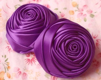 2 Handmade  Ribbon Rolled Roses (2 inches) in Purple MY-012 -88 Ready To Ship