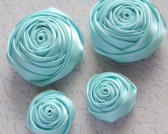 4 Handmade Ribbon Rolled Roses (2 inches,1-1/4 inch) in Aqua  MY-060-53 Ready To Ship
