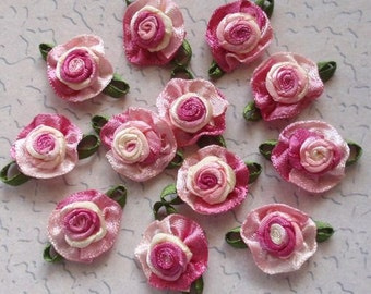12 Small Handmade Ribbon Roses (3/4 inches) In Gradient My-064-04 Ready To Ship