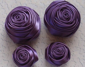 4 Handmade Ribbon Rolled Roses (2 inches,1-1/4 inch) in Amethyst  MY-060-90 Ready To Ship