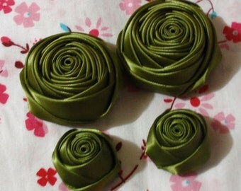 4 Handmade Ribbon Rolled Roses (2 inches,1-1/4 inch) in Willow  MY-060-138 Ready To Ship