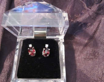 Wine Red Garnet Accented Earrings