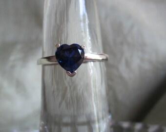 Blue Sapphire Heart Shape Ring
