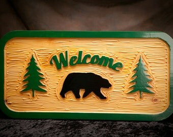 "Custom carved rustic sign, Adirondack sign, indoor/outdoor, heavy duty.   1 1/2"" x 14"" x 28""."