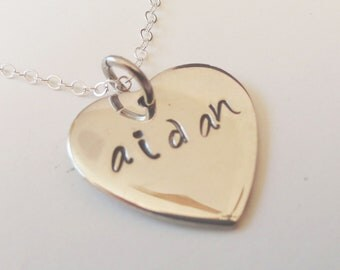 Heart/Name Necklace in Sterling Silver and Personalized- N0043