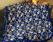 Indianapolis Colts Blanket - NFL Football Fleece No Sew - Tie Quilt for Anniversary, Birthday, Gift - Royal Blue / White Fabric, Pattern