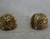 Vintage gold and rhinestone earrings