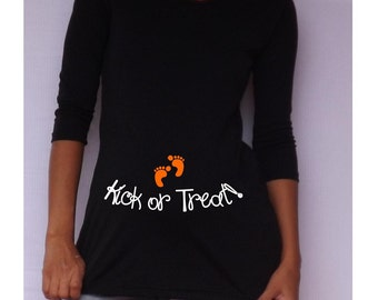 "Funny  Black Maternity Tshirt for Halloween "" Kick or Treat ""   long sleeves Choose your Size S, M,L,XL"