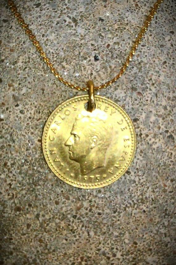 Vintage Necklace Foreign Coin Spain Spanish Una Peseta Pendant