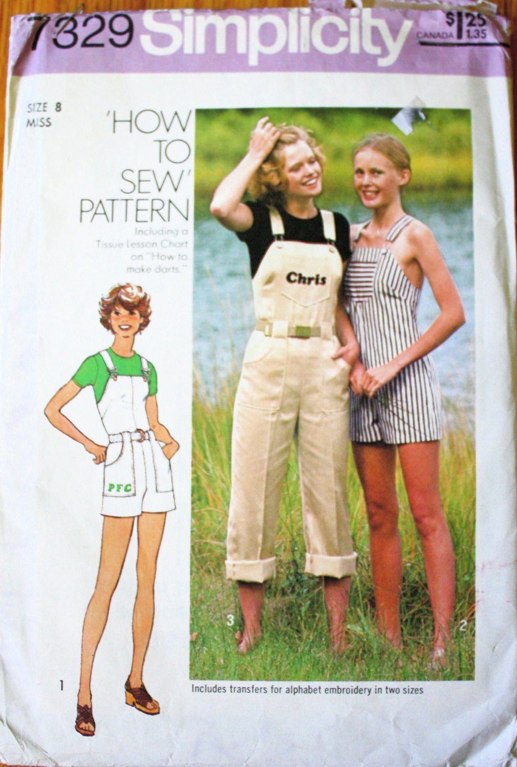 Vintage 1970s Womens Overalls Sewing Pattern Size 8
