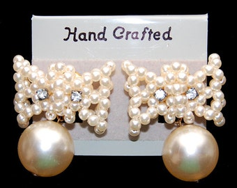 Handcrafted Faux Pearl and Rhinestone Pierced Earrings