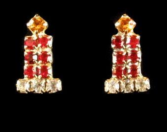 Vintage Holiday Candle Rhinestone Pierced Earrings