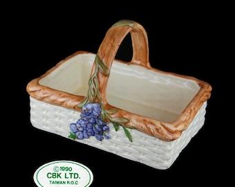Hand Made Vintage CBK LTD. Rectangular Earthenware Basket with Purple Wisteria Flowers