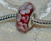 Handmade Murano Glass Bead with Sterling Silver .925 Core Red with White Flowers Fits European Style Bracelets