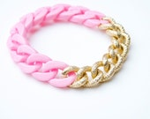 Light Pink Plastic and Gold Metal Chain Bracelet
