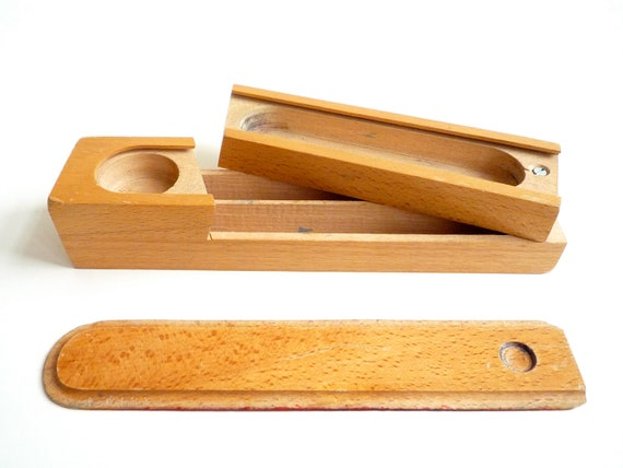 wooden pencil box with sliding lid 1