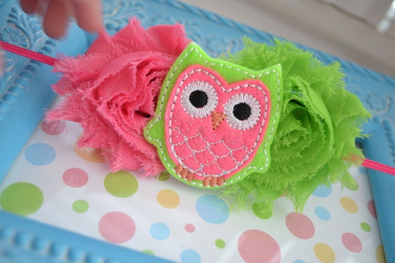 PINK LIME OWL shabby chic flower headband