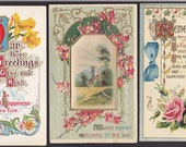 3 Antique Greeting-Friendship-Flowers-Victorian-Postcard Lot  (41A)