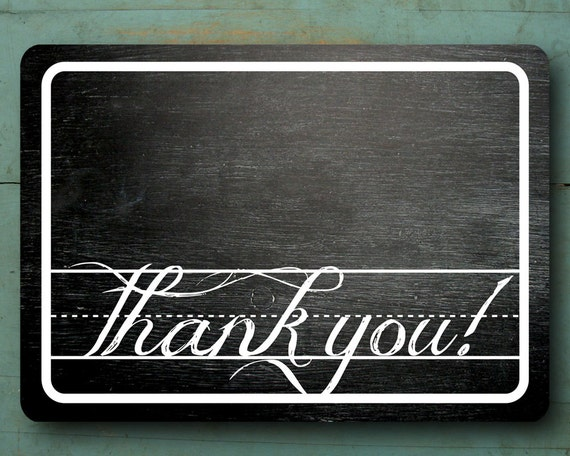 PRINTABLE Chalkboard Thank You Cards