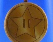 """Mario Star Coin Necklace - 1.5"""" Circular Pendant"""